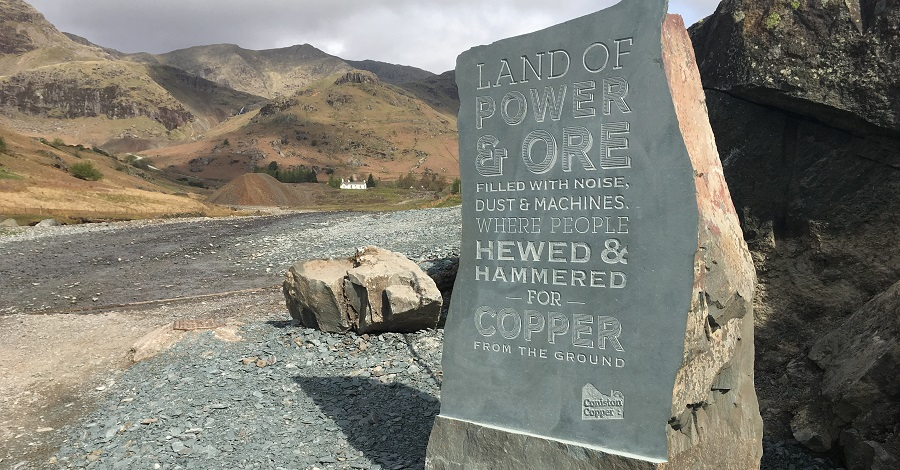 engraved slate which marks the place where people first view the Coppermines Valley, referred to as 'the reveal'. It was engraved by local stonemason Gordon Greaves.
