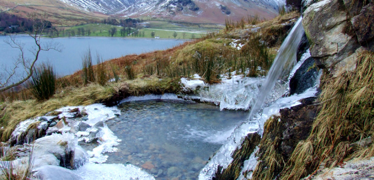 A frozen Comb Beck overlooking Buttermere copyright Michael Turner