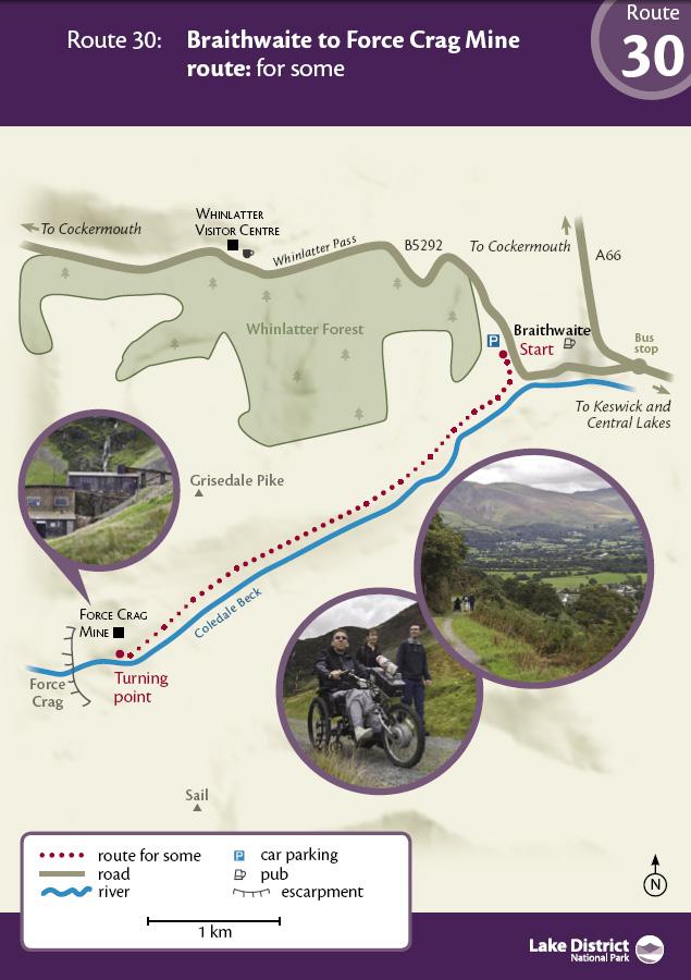 Map - Braithwaite to Force Crag Mine route