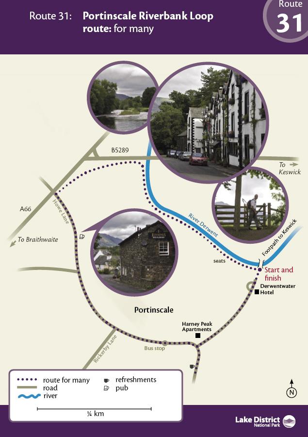 Map - Portinscale Riverbank Loop route