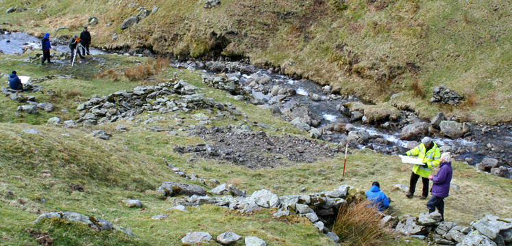 Volunteers surveying Greenhead Gill mine copyright Oxford Archaeology North