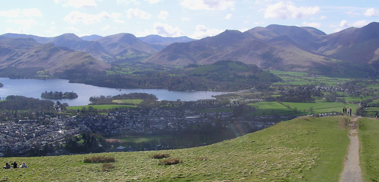 View from Latrigg of Keswick, Derwentwater and surrounding fells