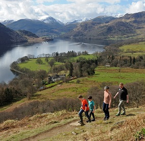 A family walking the Ullswater Way