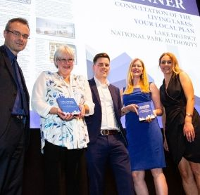 Planning Editor Richard Garlick with the Lake District National Park's Paula Allan, Rob Allison, Laura Ross and Hanna Latty  with the two planning awards
