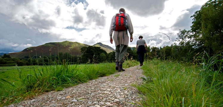Walkers on path alongside Newlands Beck copyright Charlie Hedley