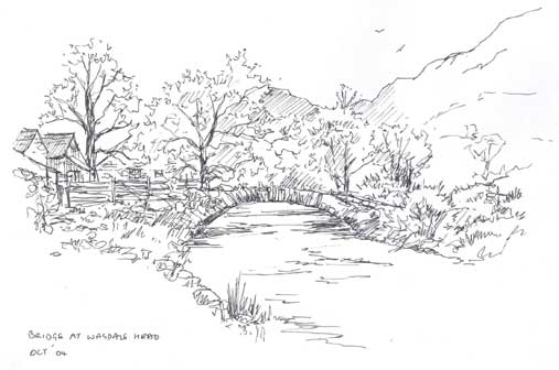 Sketch of Packhorse Bridge at Wasdale Head copyright Sue Thompson