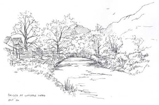Sketch of Packhorse Bridge at Wasdale Head copyright Sue Thompson