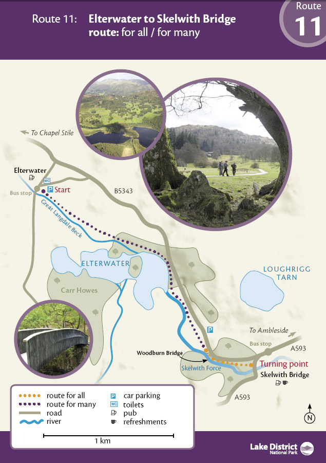 Map showing an easy access walk in the Lake District