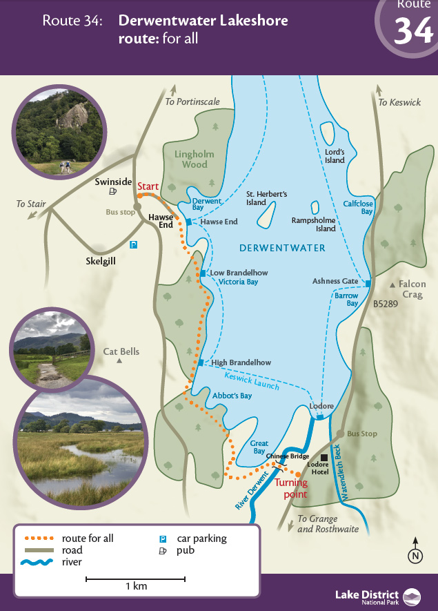 Map - Derwentwater Lakeshore route