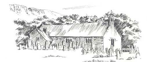 Sketch of St Catherines Church at Boot copyright Sue Thompson