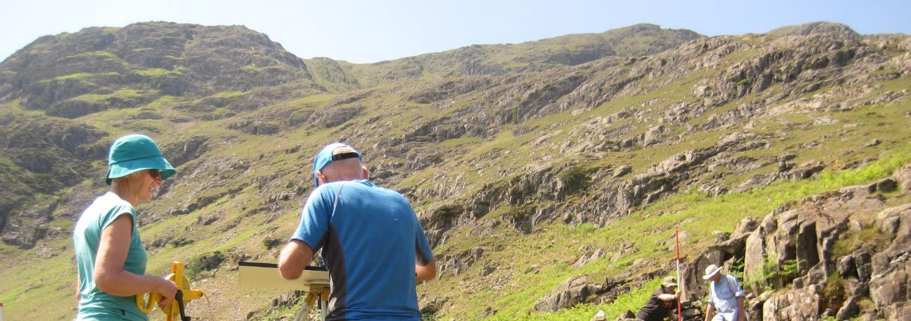 Volunteers surveying mining remains t Tilberthwaite, near Coniston
