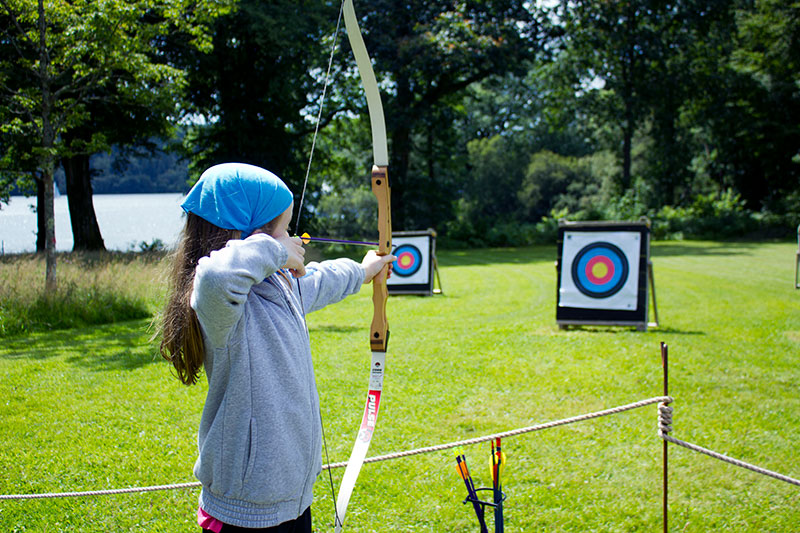 Archery with Windermere lake in the background