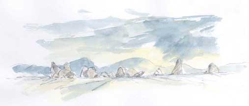 Watercolour of Castlerigg Stone Circle copyright Sue Thompson
