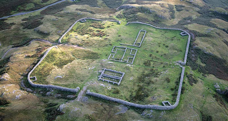Aerial view of Hardknott Roman Fort