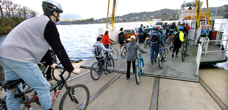 Cyclists going on Windermere ferry - copyright Charlie Hedley