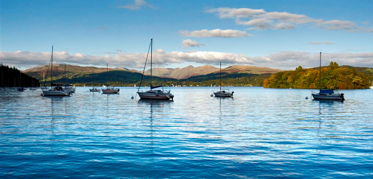 View of boats on Windermere and fells to the north copyright Charlie Hedley