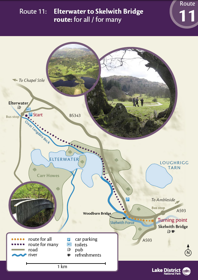 Map - Elterwater to Skelwith Bridge route