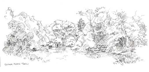 Sketch of Rather Heath Tarn copyright Sue Thompson