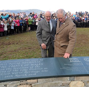 2)The Prince of Wales is joined by Lord Clark of Windermere at the installation in Crow Park, Keswick
