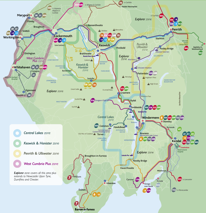Map showing bus routes across the Lake District National Park