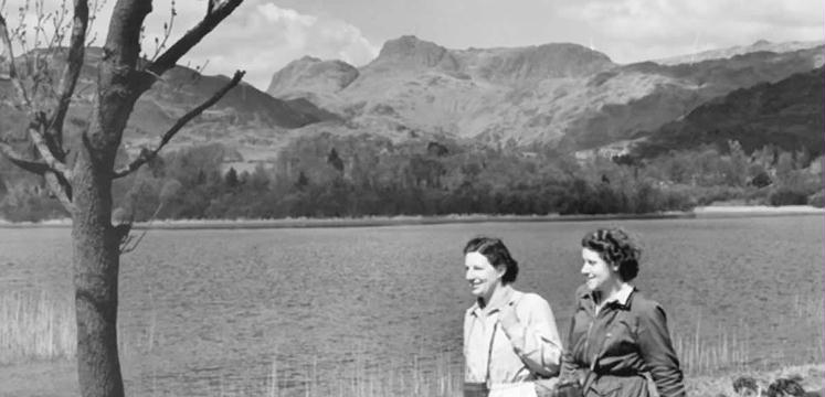 Women walking by Elterwater in the 1940s