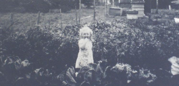 Anne Haslam in the back garden of 110 Calgarth Road, Troutbeck Bridge - courtesy of Edith Haslam