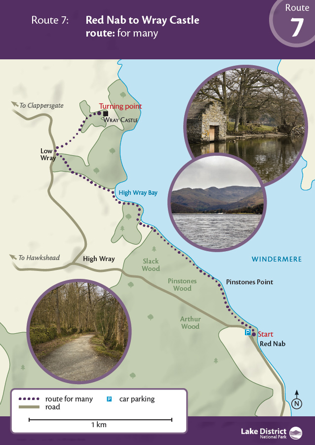 Map - Red Nab to High Wray Bay route