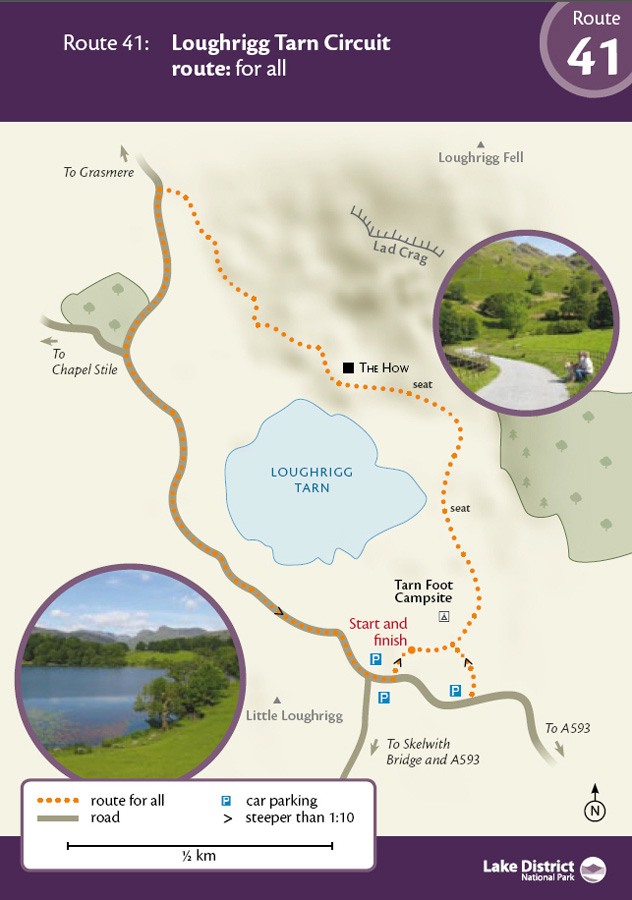 Miles Without Stiles Route 41 Loughrigg Tarn Circuit map