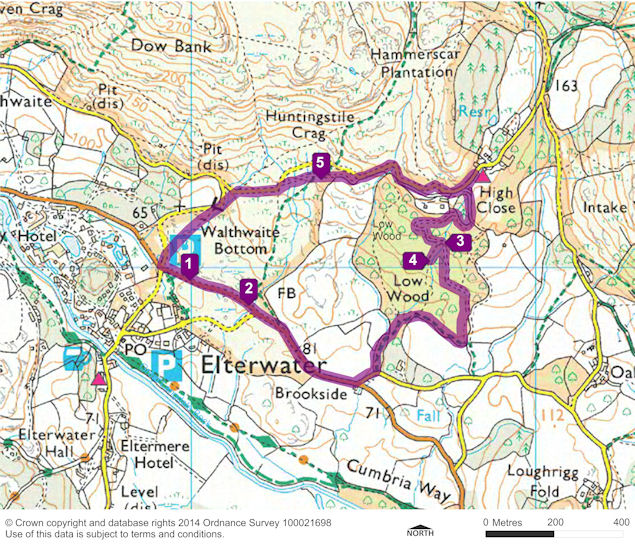 Hearts of Oak Audio Trail Walk route map