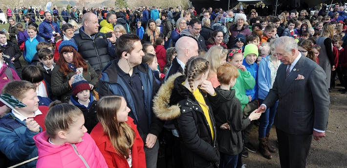 3)The Prince of Wales meets school children and members of the public who came to Crow Park, Keswick, to celebrate the official unveiling of the plaque installation to mark the Lake District as a UNESCO World Heritage Site.