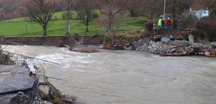 Destroyed bridge in Newlands valley after floods of November 2009