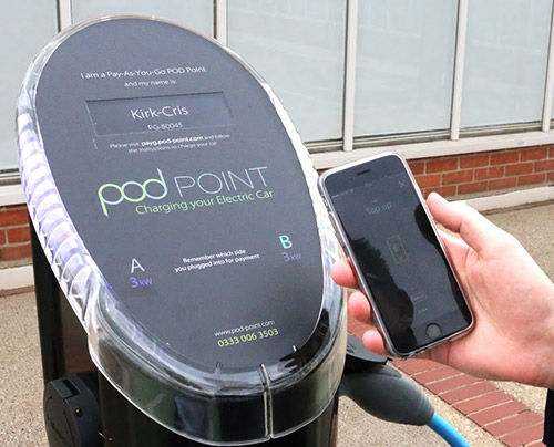 Pod Point electric car charge point and phone app