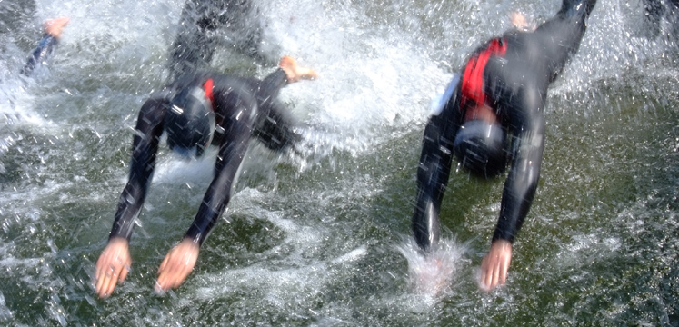 Diving in to the Great North Swim in Windermere copyright Cumbria Tourism