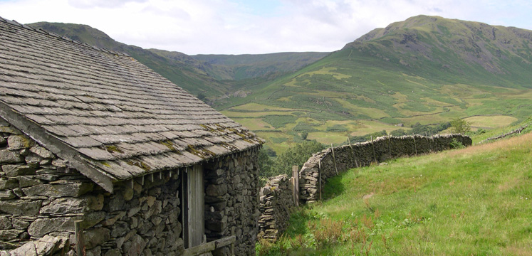 Old barn with Steel Fell beyond copyright Michael Turner