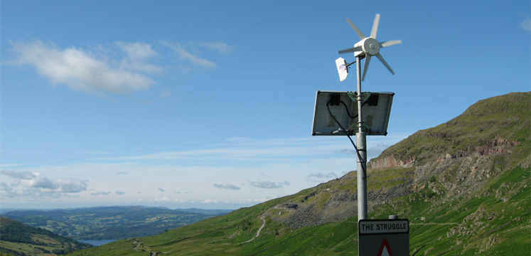 Solar and wind powered sign on The Struggle, above Ambleside copyright Helen Reynolds