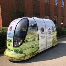 Driverless pod that will be demonstrated at Brockhole on Windermere this weekend.