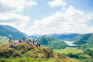 A group of people on a guided walk in Legburthwaite