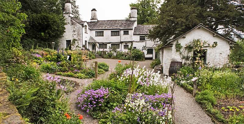 Townend Farmhouse with a traditional kitchen garden in full bloom