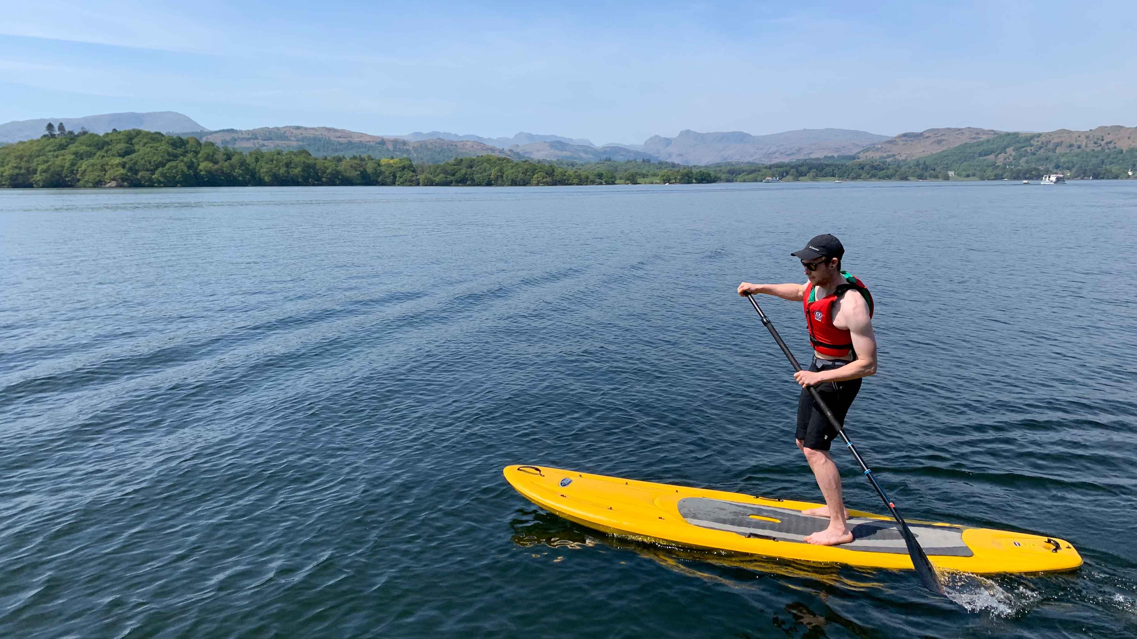 paddle board on lake windermere