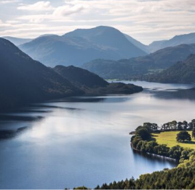 Landscape view over Ullswater in the English Lake District UNESCO World Heritage Site
