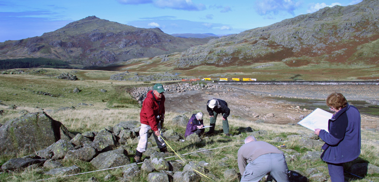 Archaeological survey of a ring cairn at Seathwaite Tarn