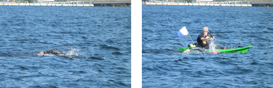 Showing how much easier a swimmer is to spot when next to a support boat