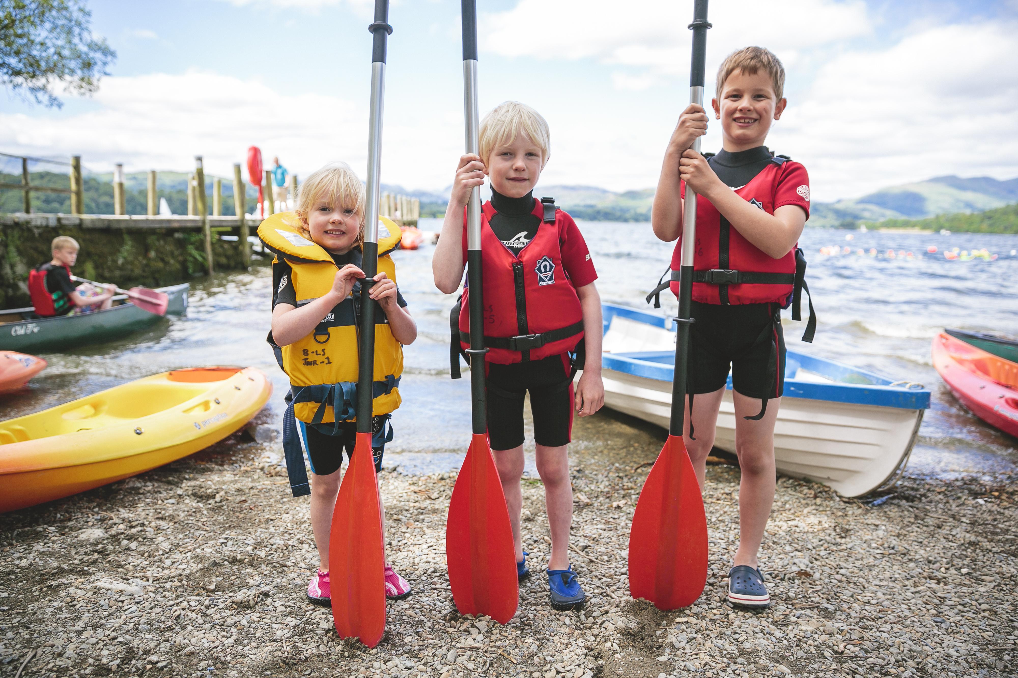 Children get ready to go kayaking at Brockhole on Windermere
