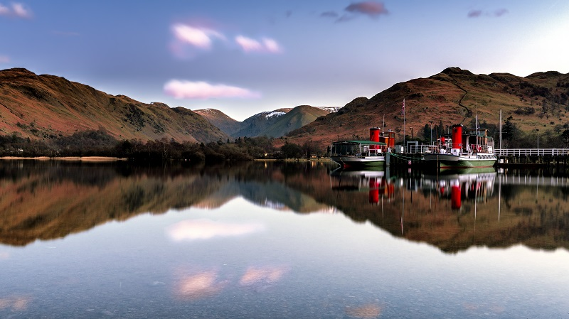 A ferry on a lake in the Lake District.