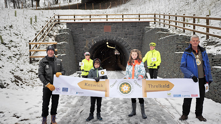 Official Opening of the Keswick to Threlkeld Railway Trail with Richard Leafe, Chief Executive of Lake District National Park Mayor of Keswick Paul Titley and Holly and Monty from local schools