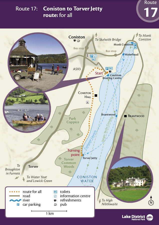 Map - Coniston to Torver Jetty route