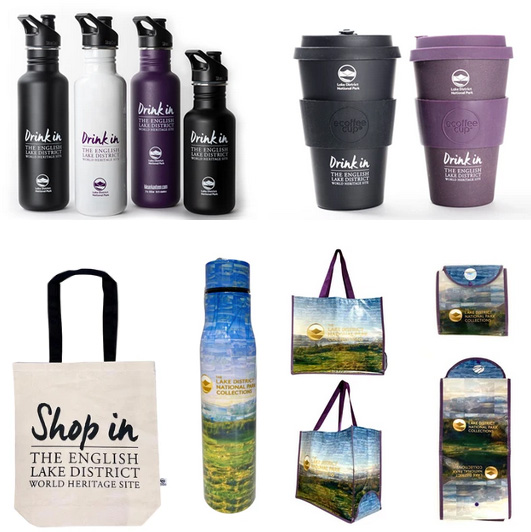 Lake District online shop products, coffee cups, water bottles and shopping bags.