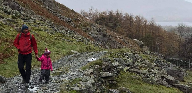 Wes and his daughter out in the Lake District walking.