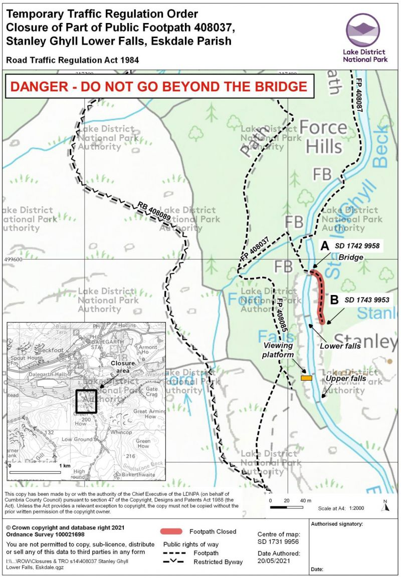 Map showing temporary closure of footpath at Stanley Ghyll