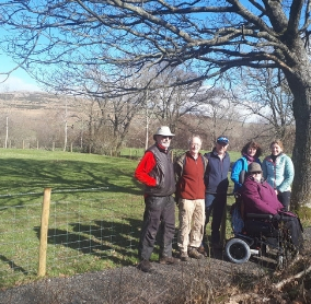 Volunteer Annie Wallen with (l-r) Husband James, Mike Jones from Bampton Trust, Jim Campbell from the Parish Council, Jan Darrall from Friends of the Lake District and Lake District National Park area ranger, Suzy Hankin at the newly completed path at Bampton